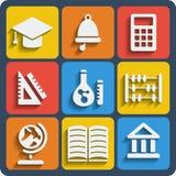 Reeks van 9 schoolweb en mobiele pictogrammen Vector Royalty-vrije Stock Fotografie
