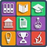 Reeks van 9 schoolweb en mobiele pictogrammen Vector Royalty-vrije Stock Foto's