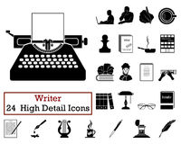 Reeks van 24 Schrijver Icons Stock Fotografie