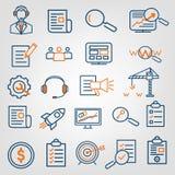 Reeks van SEO-analytics van de zoekmachineoptimalisering, call centresteun, de pictogrammen van de websiteontwikkeling Vlak lijno Royalty-vrije Stock Foto