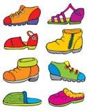 Reeks van shoes_painting_vector Stock Foto's