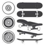 Reeks van skateboards en het met een skateboard rijden van wielen royalty-vrije illustratie