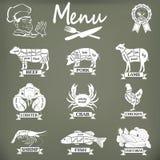 Reeks van slagerijetiketten en ontwerp elementsn Stock Foto's