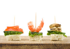 Reeks van smakelijke canape van zeevruchten Stock Foto's