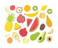 Reeks van smakelijke rijpe sappige exotische tropische vruchten, geheel en besnoeiing in plakken - ananas, granaatappel, watermel Stock Foto