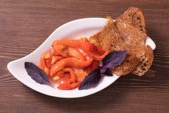 Reeks van snack van groenten, rode vissen en olijven Royalty-vrije Stock Afbeeldingen
