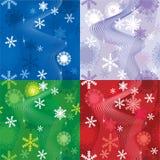 Reeks van 4 sneeuwachtergronden Royalty-vrije Stock Foto's