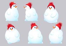 Reeks van sneeuwman zes Royalty-vrije Stock Afbeeldingen