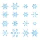 Reeks van sneeuwvlokken abstracte isolatie, de winterelement voor ontwerp Stock Foto