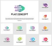 Reeks van Snel het ontwerpconcept van het Spelembleem De vector van het het embleemmalplaatje van speltechnologie Pictogramsymboo vector illustratie