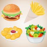 Reeks van snel voedsel Royalty-vrije Stock Afbeeldingen