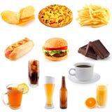 Reeks van snel voedsel stock fotografie