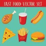 Reeks van 6 snel voedselvoorwerpen Stock Afbeelding