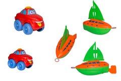 Reeks van speelgoed, het jacht en de vrolijke taxi. Royalty-vrije Stock Afbeelding