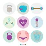 Reeks van sport, gezond, levensstijl en fitness Stock Afbeelding