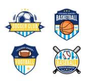 Reeks van Sport Team Logo voor Vier Sportdisciplines Royalty-vrije Stock Fotografie