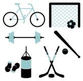 Reeks van sportieve apparatuur Stock Afbeelding