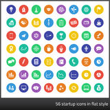 Reeks van 56 startpictogrammen in vlakke stijl Stock Foto