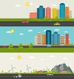 Reeks van stedelijk en in de voorsteden landschap De moderne bouw van het stedelijke leven stock illustratie