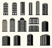 Reeks van stedelijk en in de voorsteden landschap De moderne bouw van stedelijke lifeIcons van stedelijke zwart-witte moderne geb stock illustratie