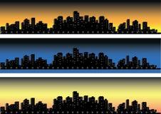 Reeks van stedensilhouet Stock Foto