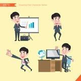 Reeks van stijl van het tekenings de vlakke karakter, activiteiten van de bedrijfsconcepten de jonge beambte Stock Fotografie