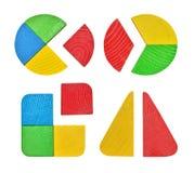 Reeks van stuk speelgoed, babysorteerder met geometrische cijfers van hout Stock Fotografie