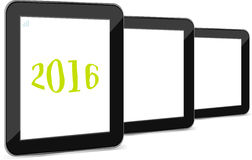 Reeks van tabletpc of slim die telefoonpictogram op wit met een teken van 2016 wordt geïsoleerd Stock Afbeelding