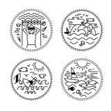 Reeks van tatoegering en etiketontwerp Reis, vakantie, paradijs, zonsondergang vector illustratie