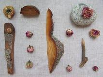 Reeks van tearosesknoppen, hout en steen op linnenachtergrond Royalty-vrije Stock Afbeeldingen