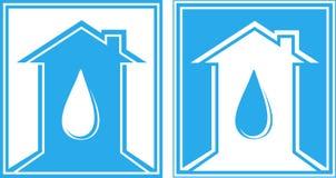 Reeks van teken met waterdaling en huis Royalty-vrije Stock Fotografie