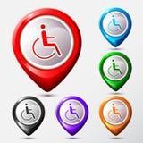 Reeks van teken van het Kaart het Plaats gehandicapte pictogram Royalty-vrije Stock Afbeeldingen