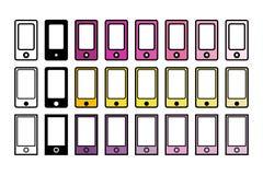 Reeks van 24 telefoons in verschillende kleuren royalty-vrije illustratie