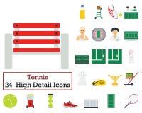 Reeks van 24 Tennispictogrammen vector illustratie