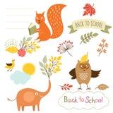 Reeks van terug naar schoolelementen, vectorillustraties stock illustratie