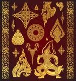 Reeks van Thais kunstelement, Decoratieve motieven Etnische Kunst, pictogram vec royalty-vrije illustratie