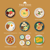 Reeks van Thais voedsel vlak ontwerp royalty-vrije illustratie
