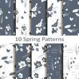 Reeks van tien de lentepatronen vector illustratie