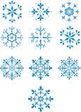 Reeks van tien de wintersneeuwvlokken Stock Afbeeldingen