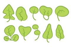 Reeks van tien groene bomen Stock Afbeelding