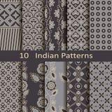 Reeks van tien Indische patronen Royalty-vrije Stock Afbeeldingen