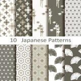 Reeks van tien Japanse patronen Stock Afbeelding