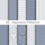 Reeks van tien Japanse patronen Stock Foto