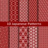 Reeks van tien Japanse patronen Stock Foto's