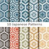 Reeks van tien Japanse patronen Royalty-vrije Stock Afbeeldingen