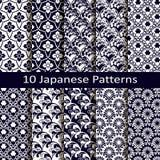 Reeks van tien Japanse patronen Royalty-vrije Stock Foto's