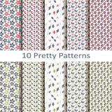 Reeks van tien mooie patronen Royalty-vrije Stock Afbeeldingen
