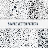 Reeks van tien naadloze eenvoudige chaotische vormen van patroon op een witte achtergrond Stock Afbeelding