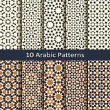 Reeks van tien naadloze vector Arabische traditionele geometrische patronen ontwerp voor dekking, het verpakken, binnenlandse tex royalty-vrije illustratie
