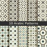 Reeks van tien naadloze vector Arabische traditionele geometrische patronen ontwerp voor dekking, verpakking, textiel royalty-vrije illustratie